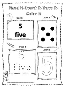 Numbers Read, Count, Trace, Color the number 5.  Preschool