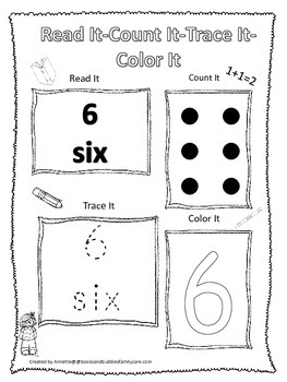 Numbers Read, Count, Trace, Color the number 6.  Preschool