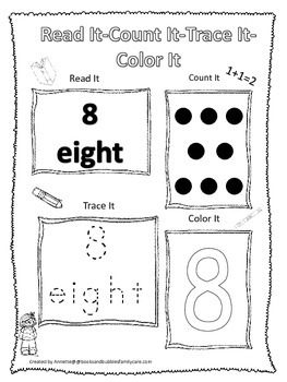 Numbers Read, Count, Trace, Color the number 8.  Preschool