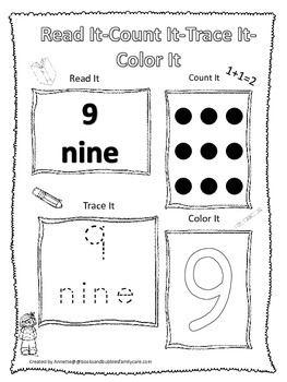 Numbers Read, Count, Trace, Color the number 9.  Preschool