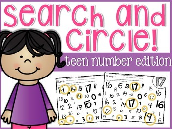 Numbers Search and Circle: Teen Number Edition