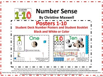 Numbers Sense Posters 1-10, Student Desk Posters and Numbe