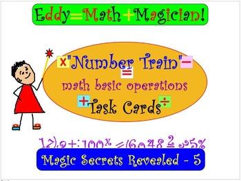 Basic Math Operations Skills: NUMBER TRAIN 16 Task Cards,