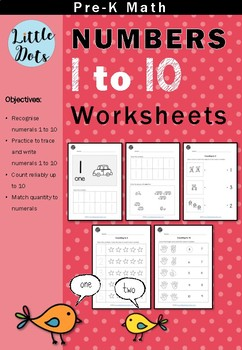 Pre-K Math - Numbers 1 to 10 Worksheets