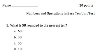 Numbers and Operations Base 10 Assessment
