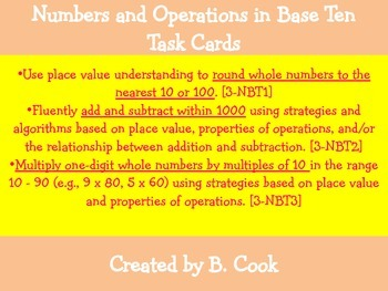 Numbers and Operations in Base 10 Task Cards