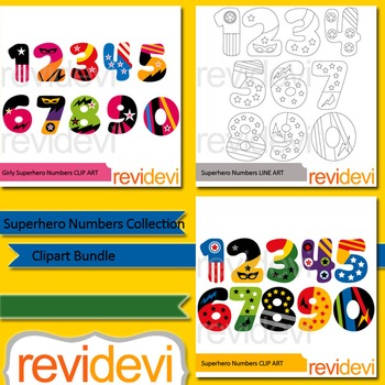 Numbers clipart: Superhero numbers collection clip art bun