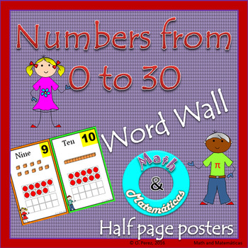Numbers from 0-20 and 21-30-Half Page Posters -Math Word Wall