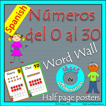 Numbers from 0-20 and 21-30-Half Page Posters -Math Word W