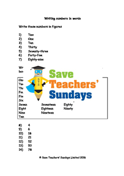 Numbers in words worksheets (4 levels of difficulty) 2nd t