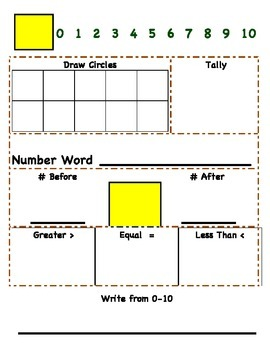 Numbers to 10 (Practice Board)
