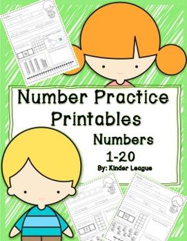Numbers to 20-  Number Practice Worksheets