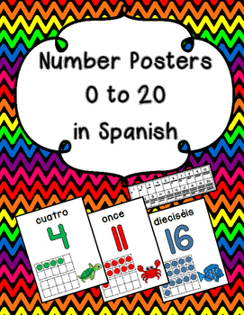 Numbers to 20: Posters in Spanish