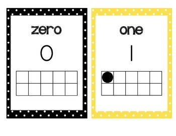 Numbers to 20 posters with tens frames! Yellow and black p