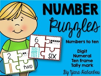 Numbers to Ten Puzzles {Digit, Numeral, Ten frame & Tally