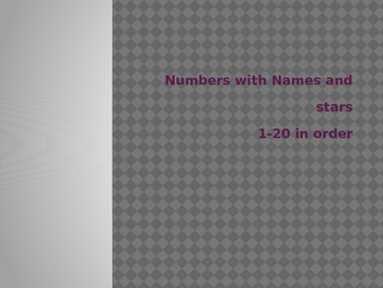 Numbers with words and stars 1-20