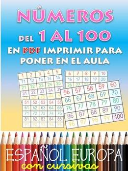 Numeracion de 1 a 100 para el aula. 4 paginas A4 para plas
