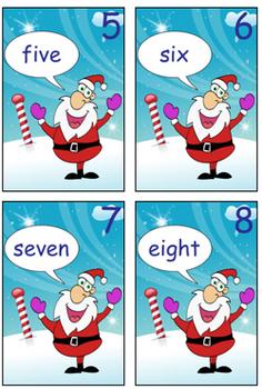 Numeral Cards - Santa - Zero to Twenty - Ideal for Math Games