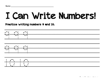 Numeral Handwriting Practice 9 and 10