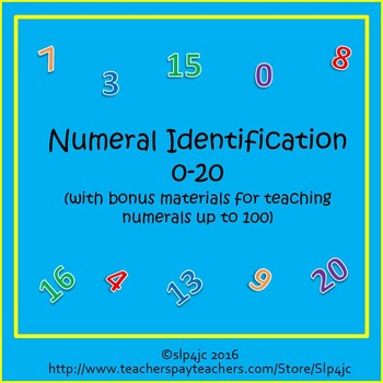 Numeral Identification 0-20 Unit (with bonus materials for