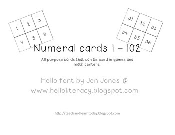 Numeral cards 1 - 102