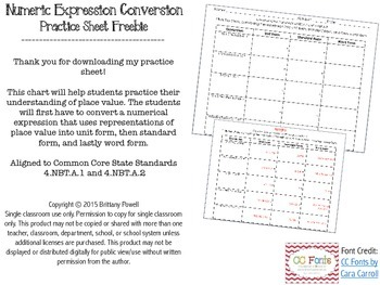 Numeric Expression Conversion Practice Sheet - FREEBIE