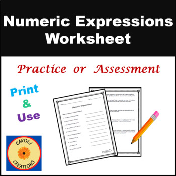 Numeric Expressions Worksheet