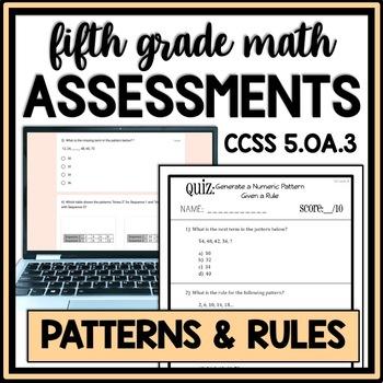 Numeric Patterns Quiz, 5.OA.3 Assessment, Generate a Patte