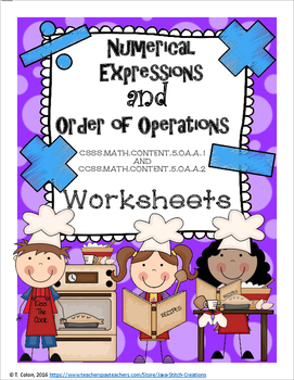 Numerical Expressions and Order of Operations Worksheets