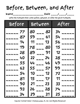 Numerical Order {Before, Between, After}