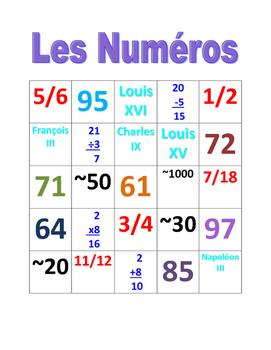 Numéros (Numbers in French) Bingo