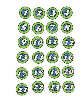 Numéros de 1 à 24