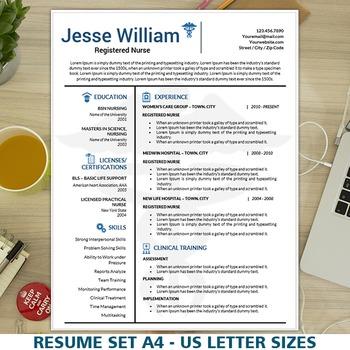 Nursing Resume Template, Medical Resume Instant Download,