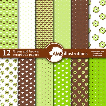 Digital Papers - Nursery Papers and backgrounds Green and