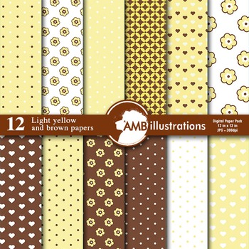 Digital Papers - Nursery Papers and backgrounds Yellow and