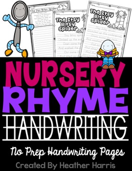 Nursery Rhyme Handwriting No Prep Pages