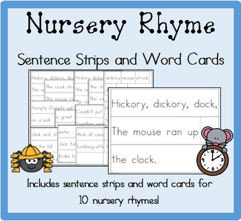 Nursery Rhymes Sentence Strips and Word Cards