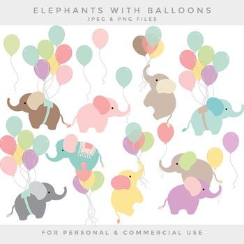 Nursery clipart - baby elephant clip art balloon elephants
