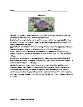 Nutria - Invasive species - review article questions activities