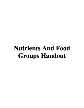 Nutrients And Food Groups Handout