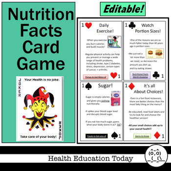 Health Lesson:  Nutrition Facts Card Game - Play With This