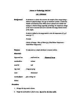 Nutrition Module Calorimetry lab