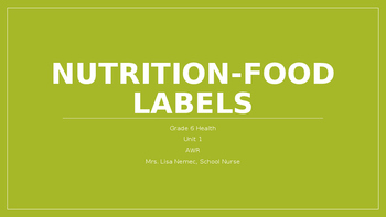 Nutrition Part 3 - Food Labels