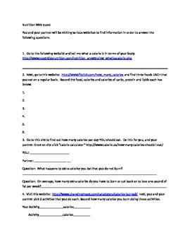 Nutrition Webquest