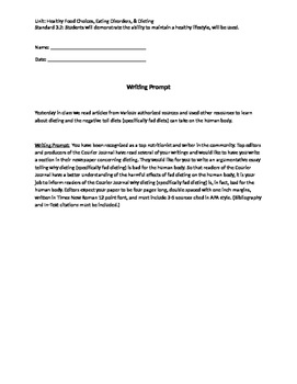 Nutrition Writing Prompt (Diets/Fad Diets)