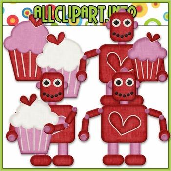 BUNDLED SET - Nuts & Bolts Valentine Robots 1 Clip Art & D