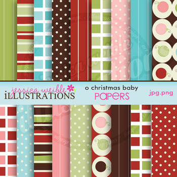 O Christmas Baby Matching Digital Papers, Christmas Papers