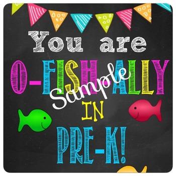 O-Fish-ally In PreK Tags, Chalkboard, Back to School, Gold