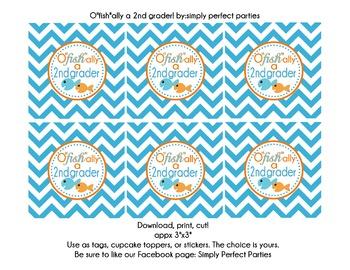 O'fishally a 2nd grader goody bag tags party stickers repo