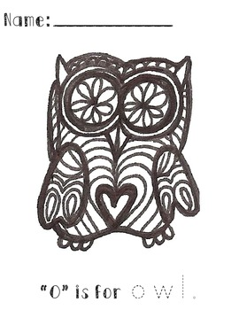 """O"" is for owl Tracing Sheet"